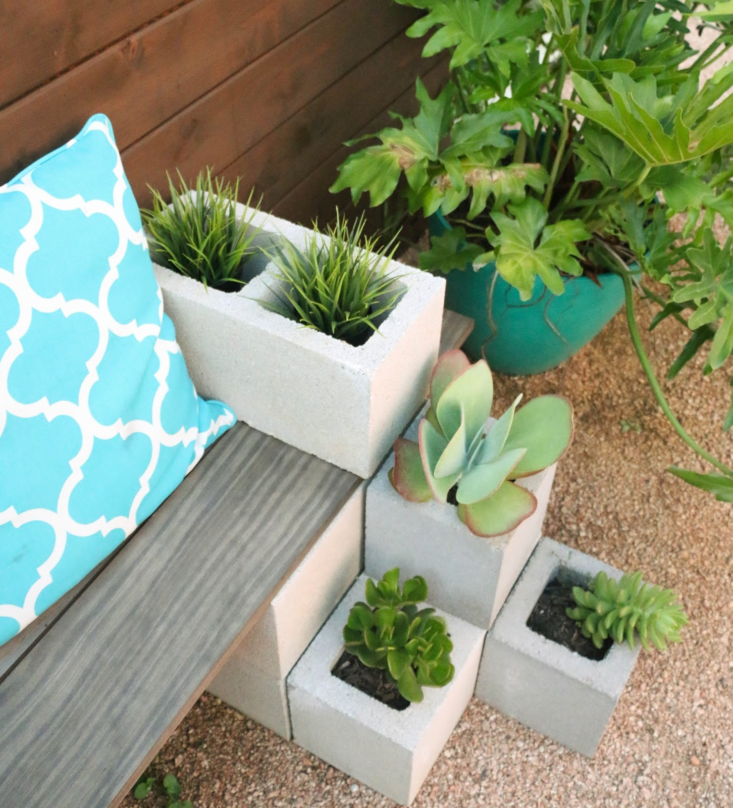 bench 25 Stunning Planter Concrete Blocks Alternatives to Transform Your Backyard And That Are All Your Front Porch Needs Interior