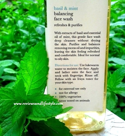 Iraya Basil and Mint Balancing Face Wash Review