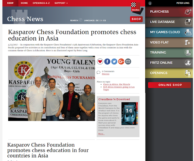 Kasparov Chess Foundation Promotes Chess Education In Four Countries In Asia