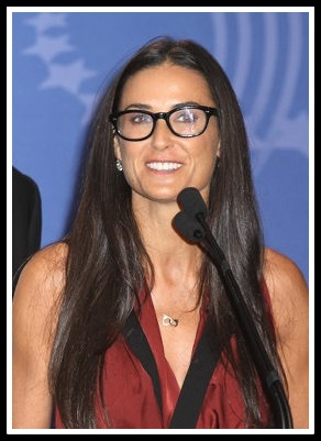 Demi Moore Rectangular Face Long Round Glasses