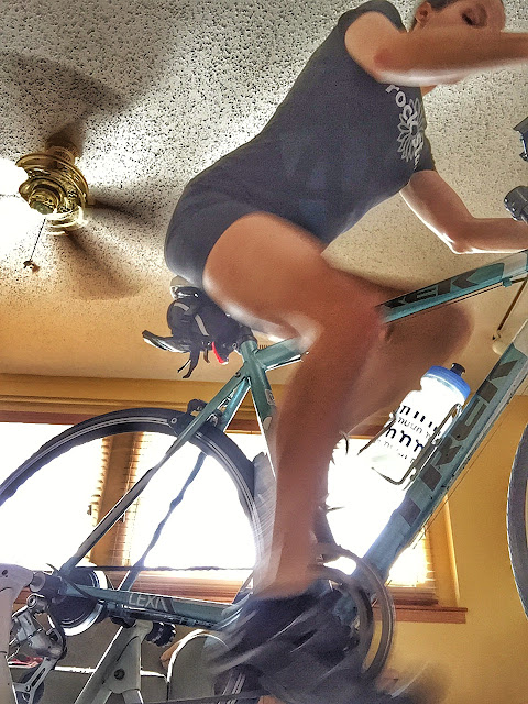 Riding the bike trainer