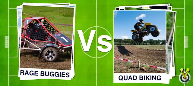 Rage Buggies Football Card and Quad Biking Football garden on a football pitch