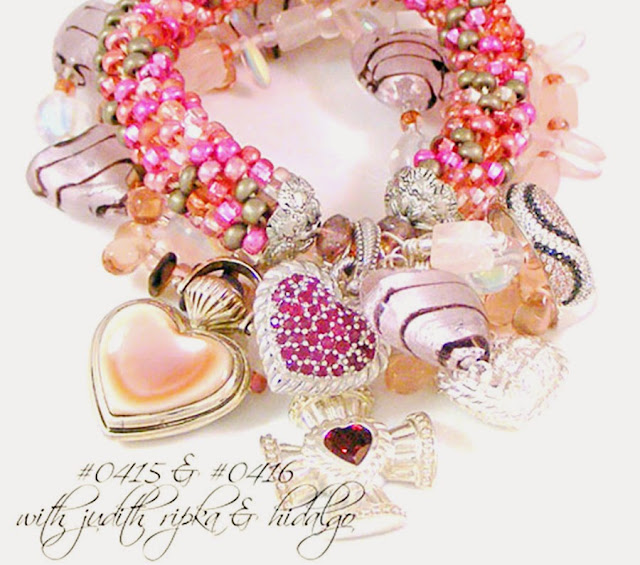 Tanya Lochridge Jewelry Pink & Black Heart Lampwork, Czech Glass & Rose Quartz Gemstone Bracelet
