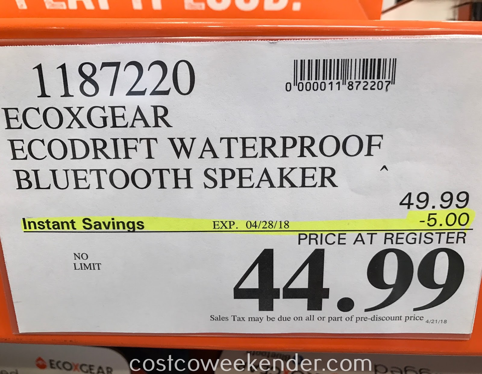 Deal for the EcoXGear EcoDrift Waterproof Rugged Speaker at Costco