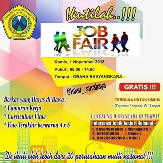 Job Fair Universitas Bhayangkara Surabaya GRATIS