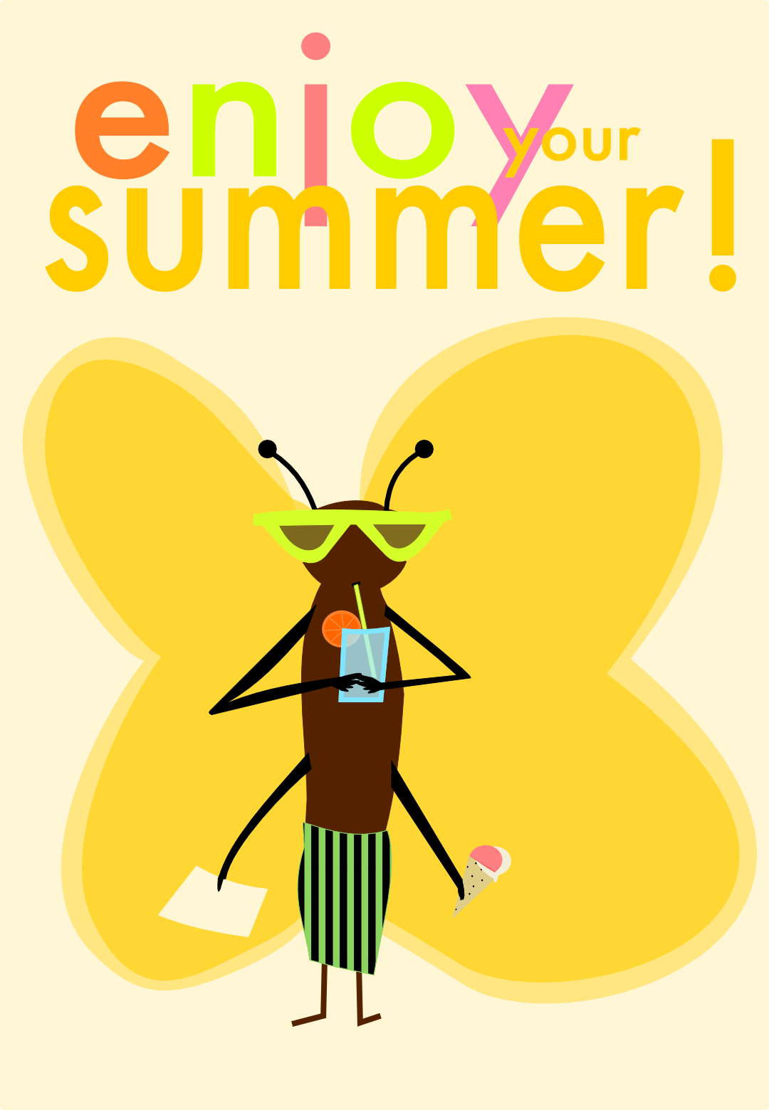 free funny beach butterfly printable – Strand ...