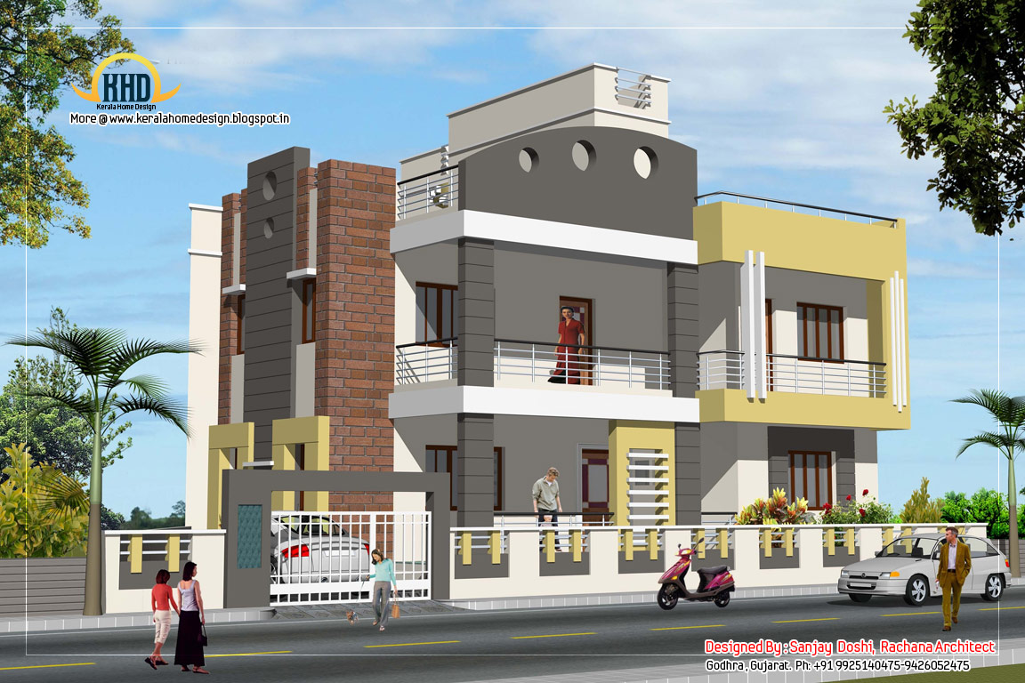 3 story house plan and elevation 3521 sq ft kerala for Home plan elevation