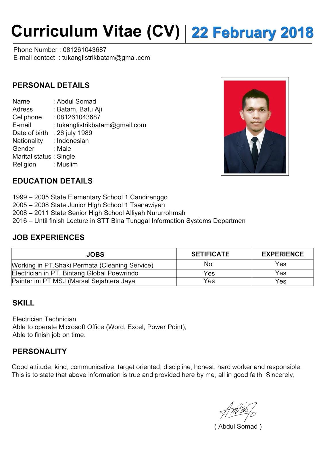 Contoh Cv Lamaran Kerja Curriculum Vitae Tukang Listrik Batam