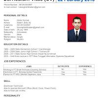 Contoh Cv Fresh Graduate Curriculum Vitae Tukang Listrik Batam