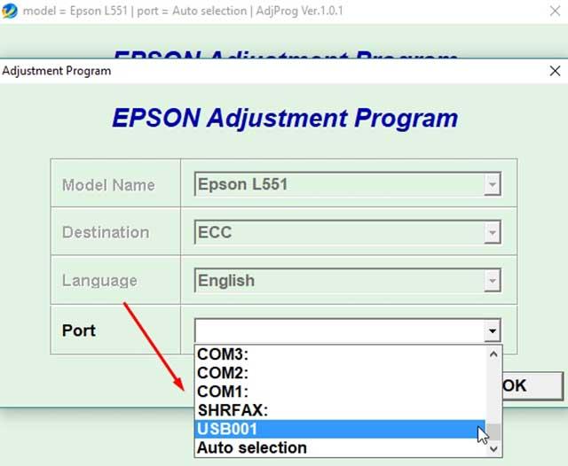 seleccionar el puerto de la impresora epson l551
