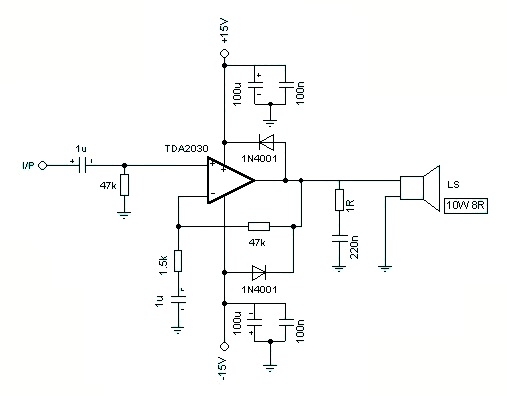 schematic circuits for 8 watt amplifier