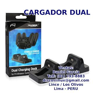 Cargador Dual para PS4, dual charger dock en Lima Peru