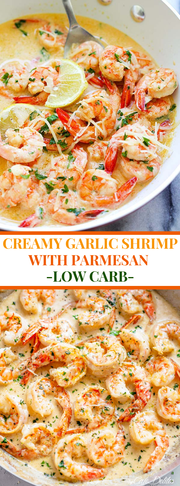 creamy garlic shrimp with parmesan (low carb) #diet #amazingmeal