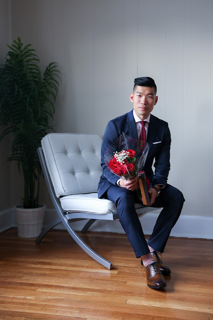 Perry Ellis Navy Suit for Valentine's Day, Romantic Menswear outfit, Roses and Godiva Chocolate,