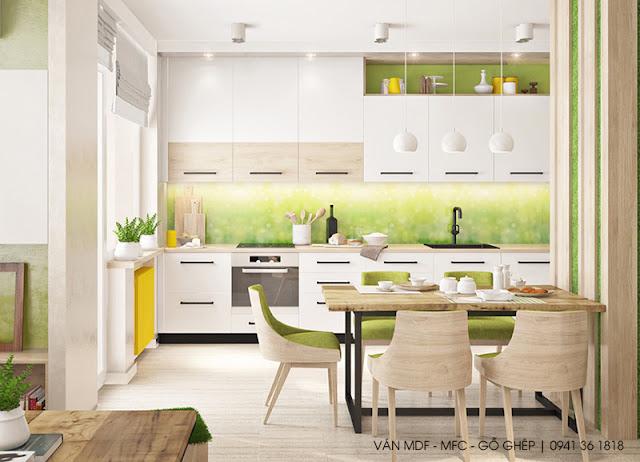 trang trí không gian bếp màu xanh lá cây