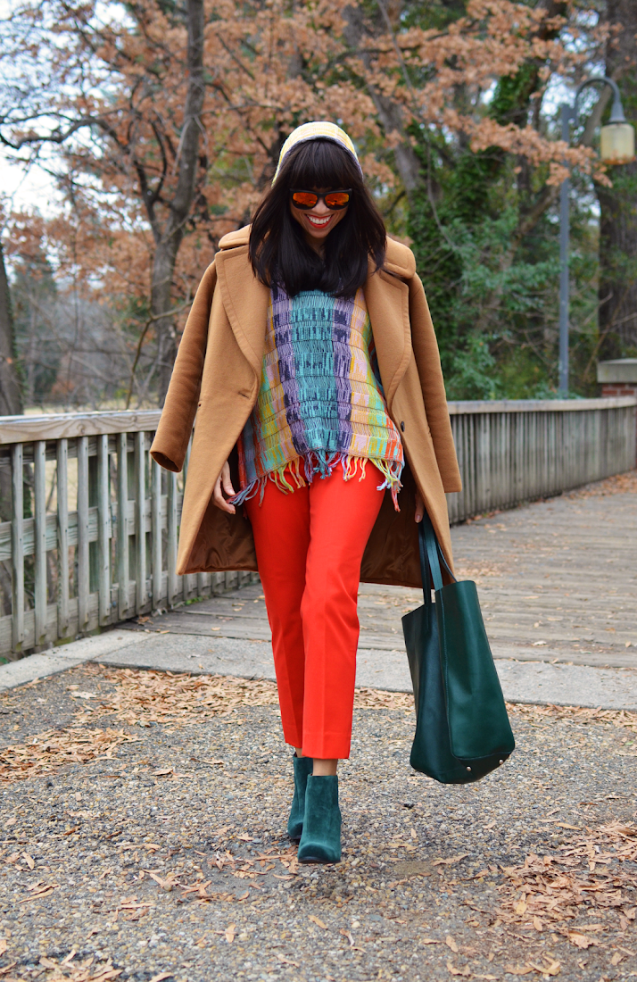 Bright colors winter outfit