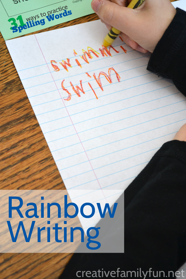 Try rainbow writing for a colorful way to practice your spelling words.