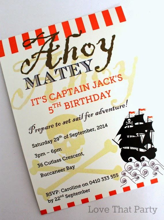 Pirate Girl Printable Party Invitation by Love That Party available now at http://lovethatparty.bigcartel.com/product/pirate-party-printable-invitation-digital-file