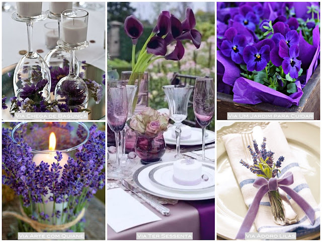 decoração mesa lavanda