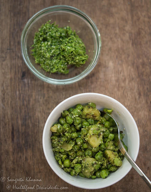 a green chutney with sesame and its multiple uses