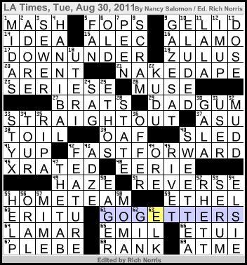 Times crossword corner tuesday august 30 2011 nancy salomon