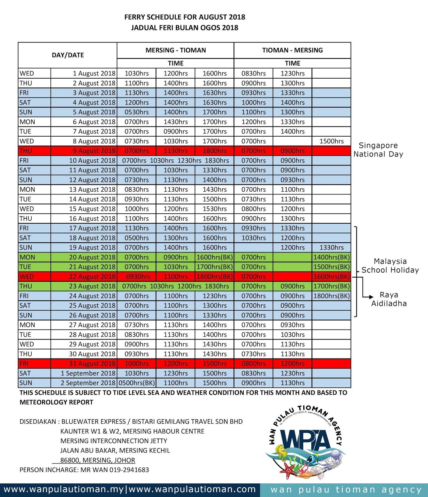 Tioman Ferry Transfer Schedule August 2018