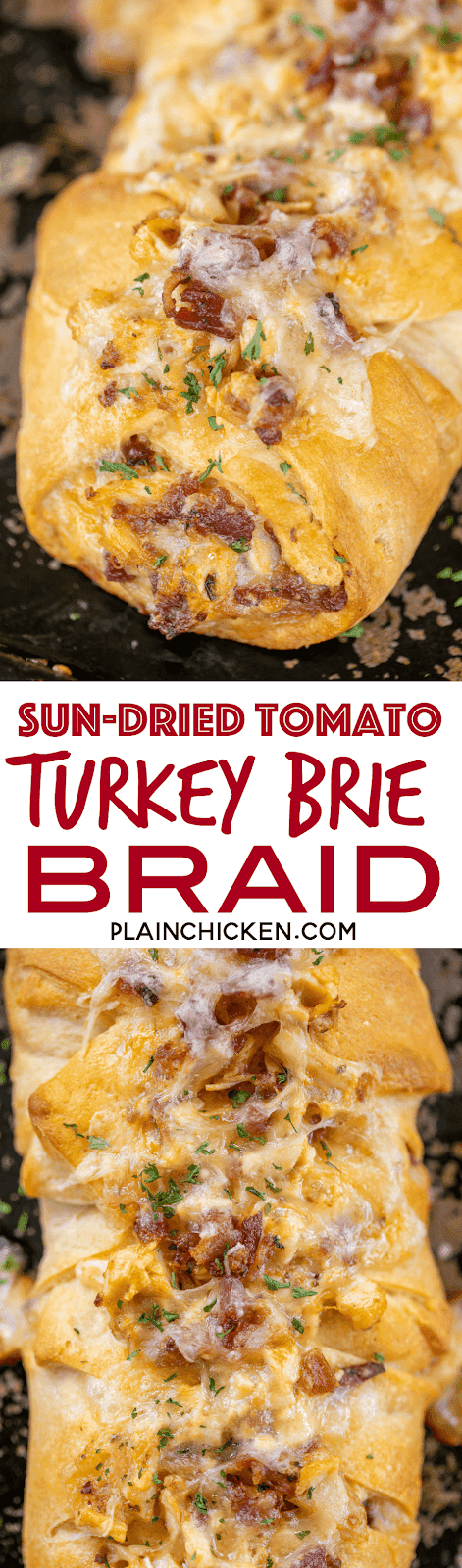 Sun-Dried Tomato Turkey Brie Braid - seriously delicious!!! Great way to use up any holiday turkey! Turkey, mayo, sun-dried tomato pesto, bacon and brie wrapped in crescent rolls and baked.We love this easy sandwich. Perfect for a quick lunch, dinner or appetizer. #leftoverturkey #turkey #sandwich