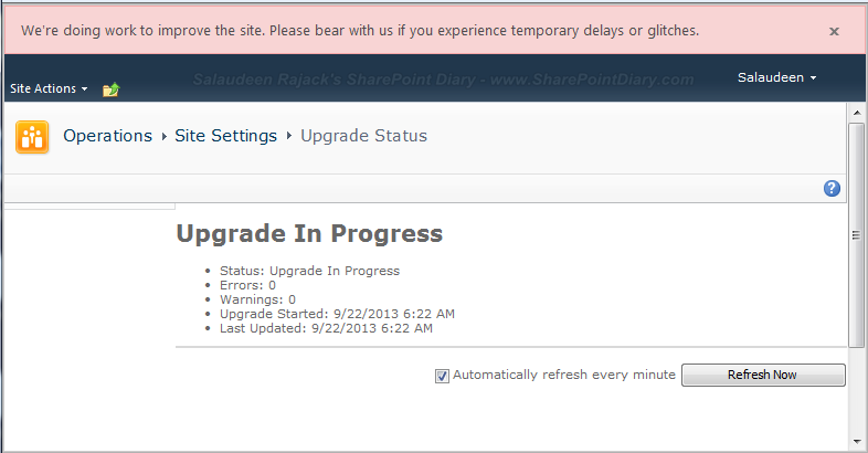 SharePoint 2013 Upgrade Progress