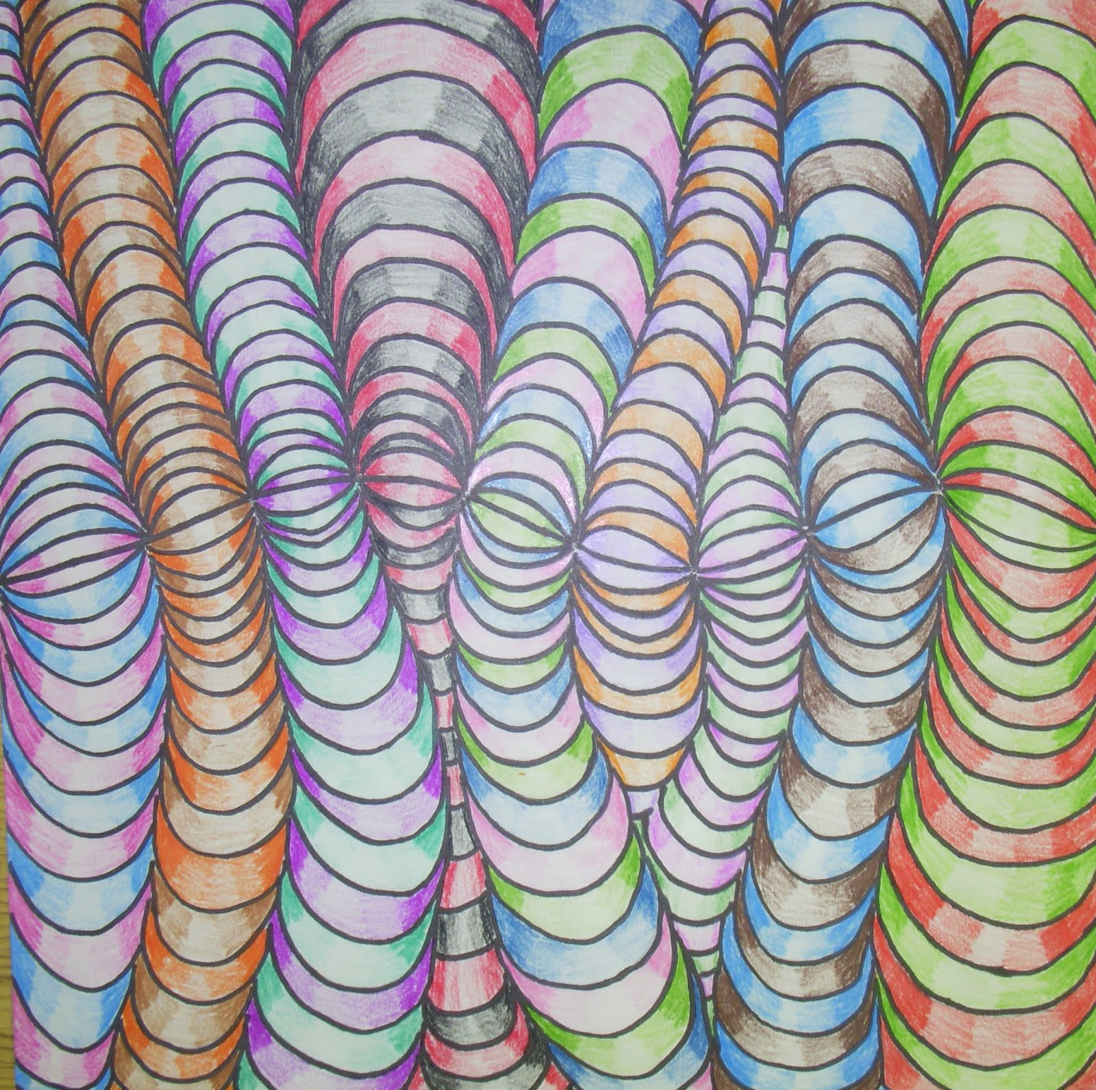 op optical illusions colored pencils factory drawings artwork blending