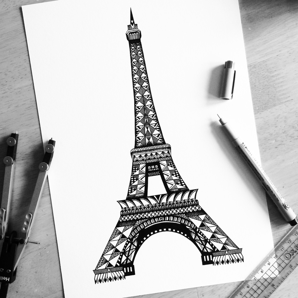 12-Eiffel-Tower-Pavneet-SembhiSelf-taught-Artist-Creates-Intricate-and-Detailed-Drawings-www-designstack-co