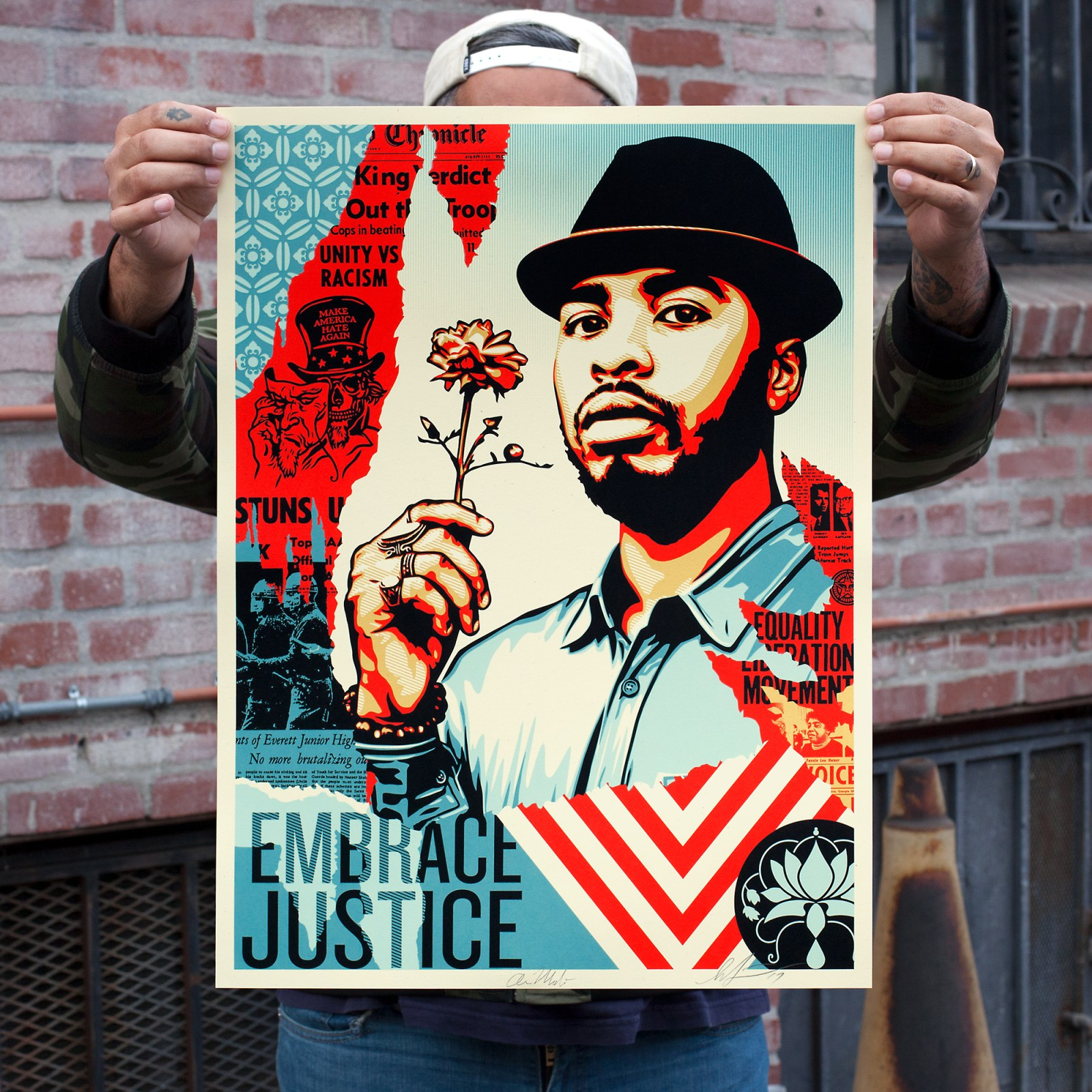 inside the rock poster frame blog obey giant embrace justice poster release. Black Bedroom Furniture Sets. Home Design Ideas