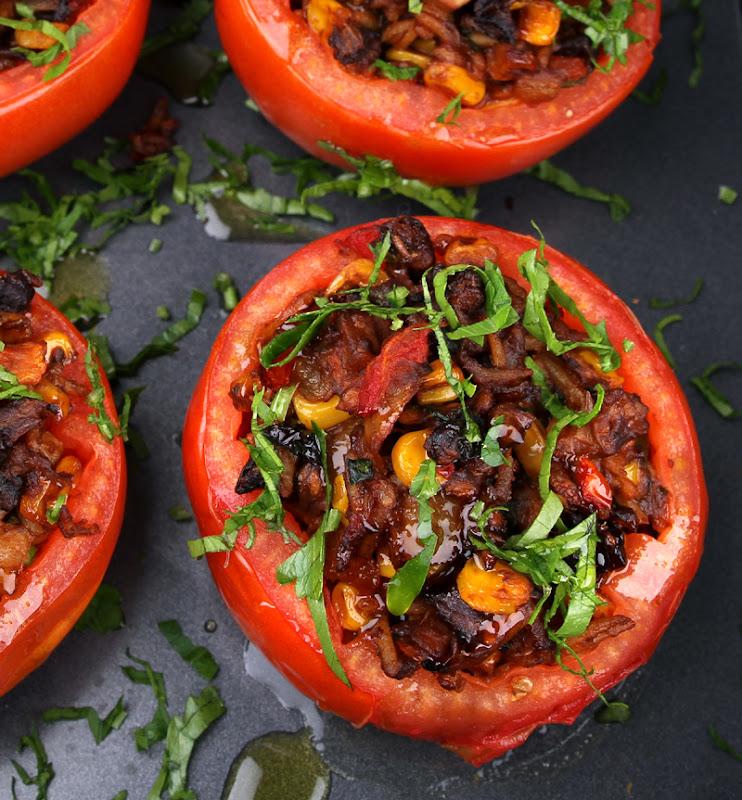Oppskrift Gratinerte Tomater Tacofyll Bønner Ris Mais Taco Texmex