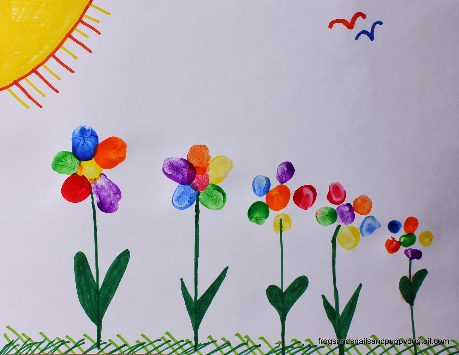 Rainbow Fingerprint Flower Family Art