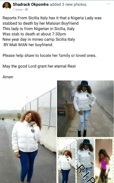 Photos of the Nigerian woman stabbed to death by her boyfriend in Italy