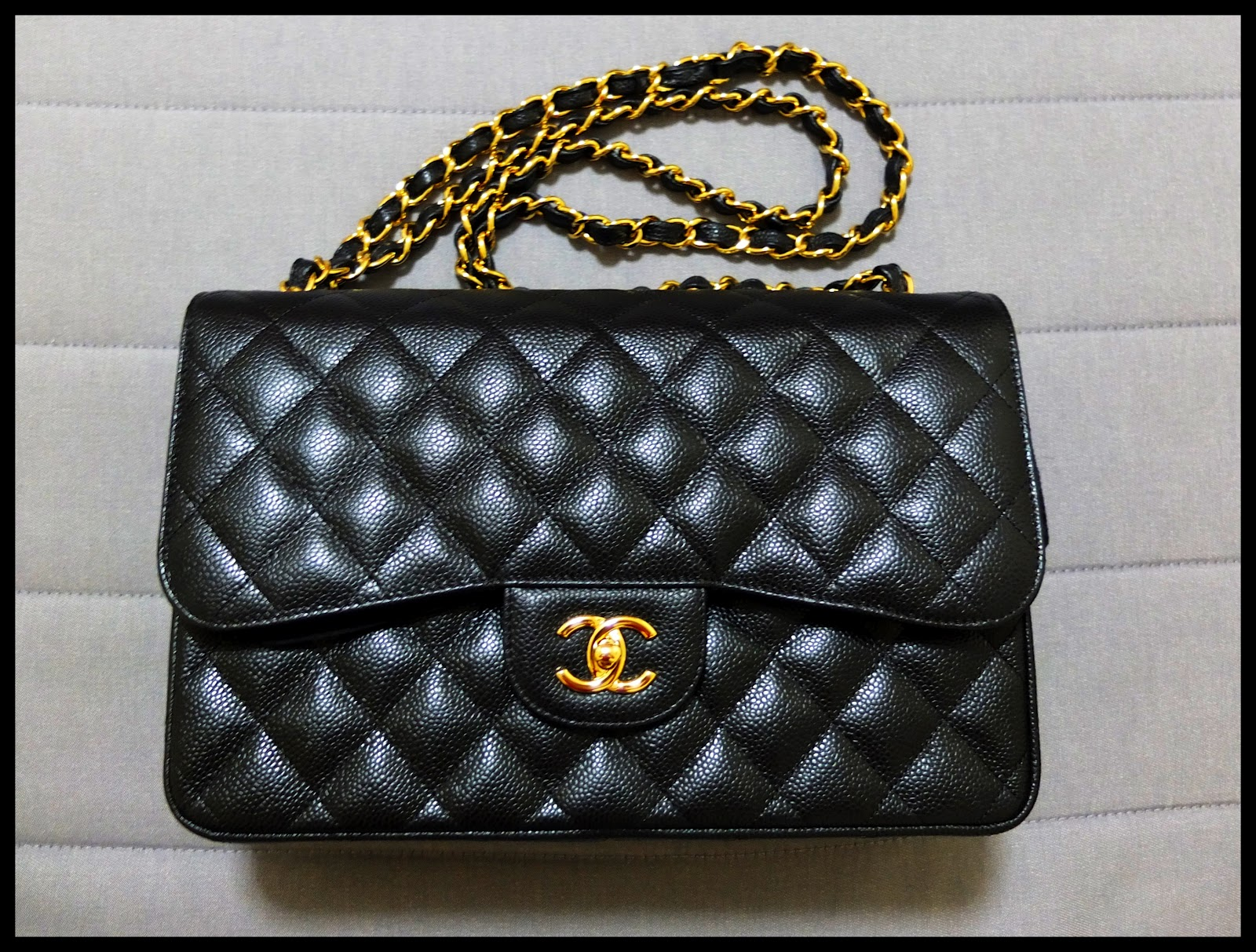 8114a3b2a4f6 Sold) Chanel Jumbo Black Caviar Classic Flap with Gold Hardware ...