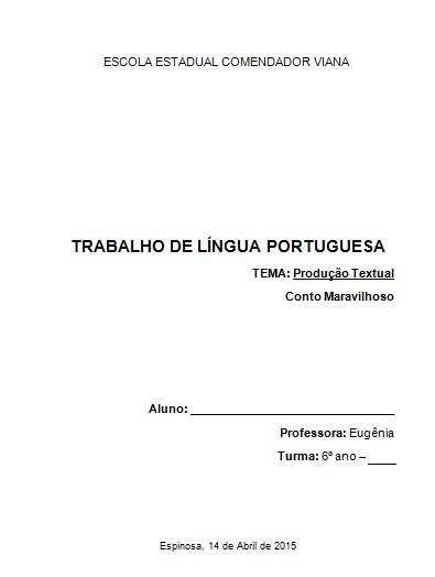 Escola Estadual Comendador Viana Modelo De Capa De Trabalhos