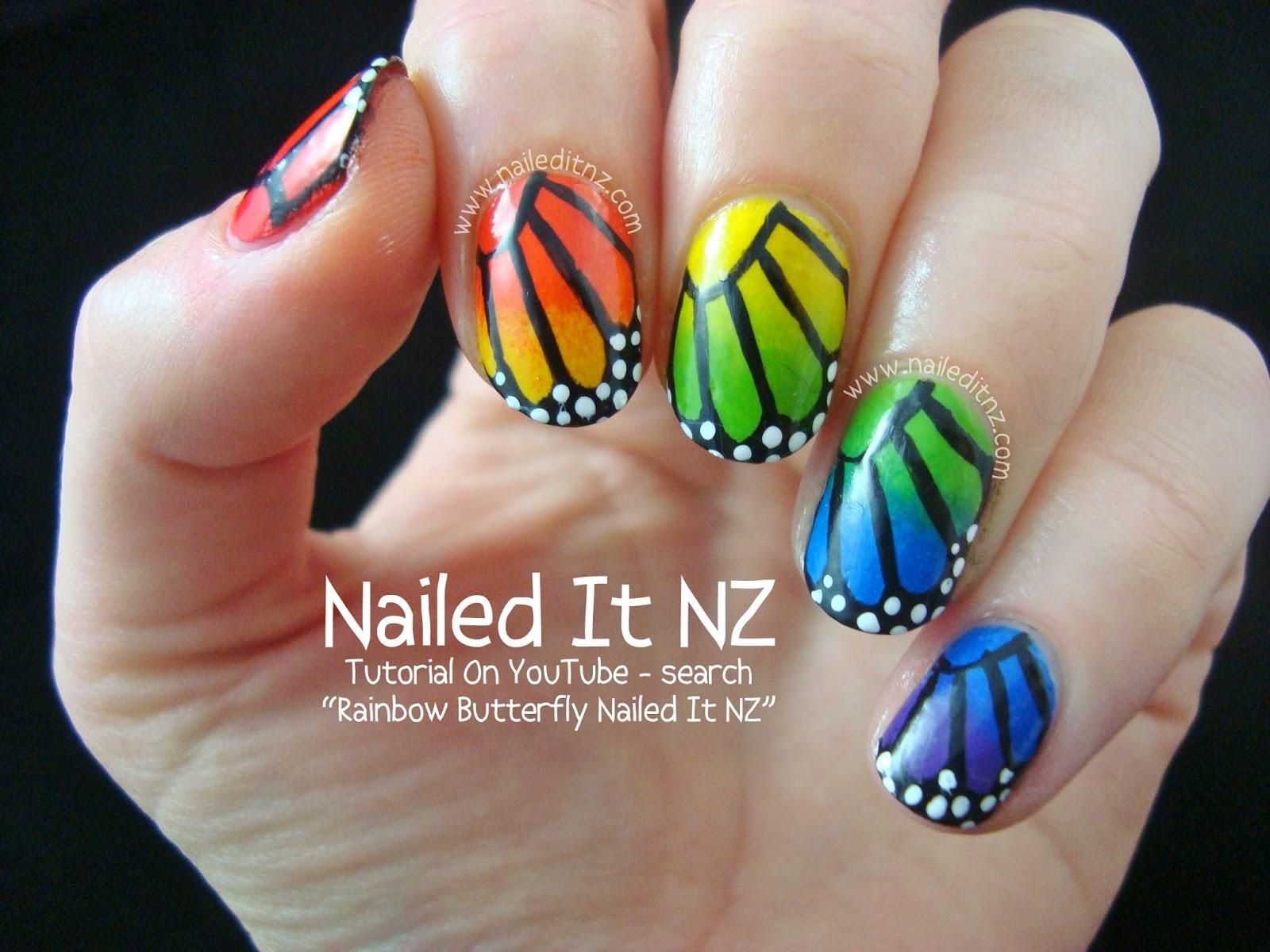 Tutorial | Rainbow Butterfly Nail Art