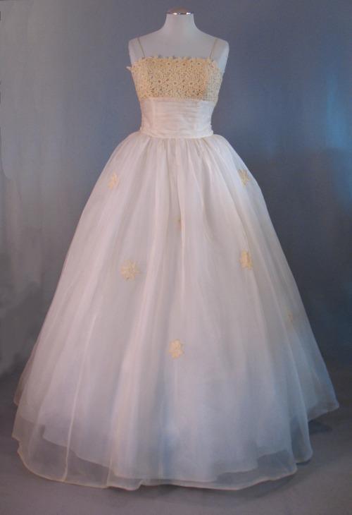 1950s Silk Organza Wedding Or Evening Gown Inspired By Elizabeth Taylor