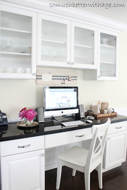 Kitchen Office www.somuchbetterwithage.com #kitchen #office #cabinet