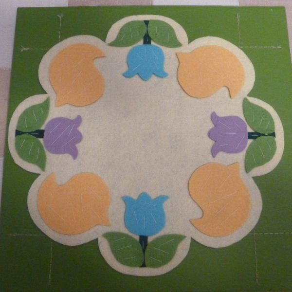 Spring candle mat hand basted yellow birds chicks with blue and lilac tulip flowers