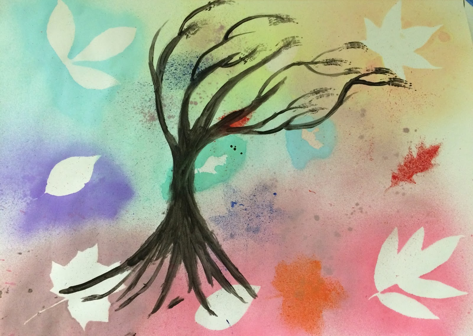 The Helpful Art Teacher: Spray Stenciling Leaves With Liquid Watercolors