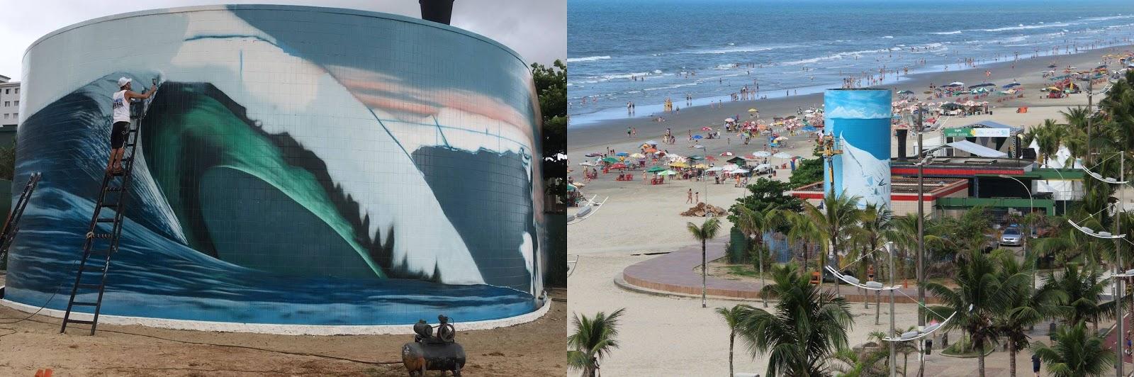 O artista retratou uma onda gigante e um ambiente recifal utilizando a estrutura do Emissário Submarino.