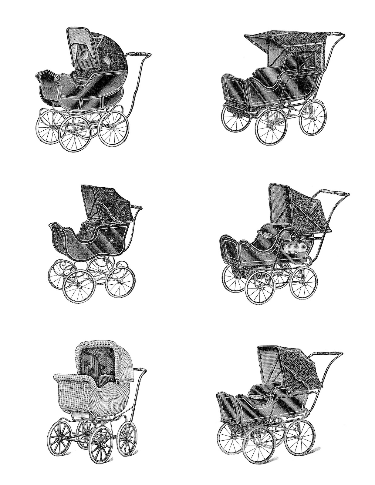 Antique Images Digital Collage Sheet 6 Vintage Baby Carriage Illustrations