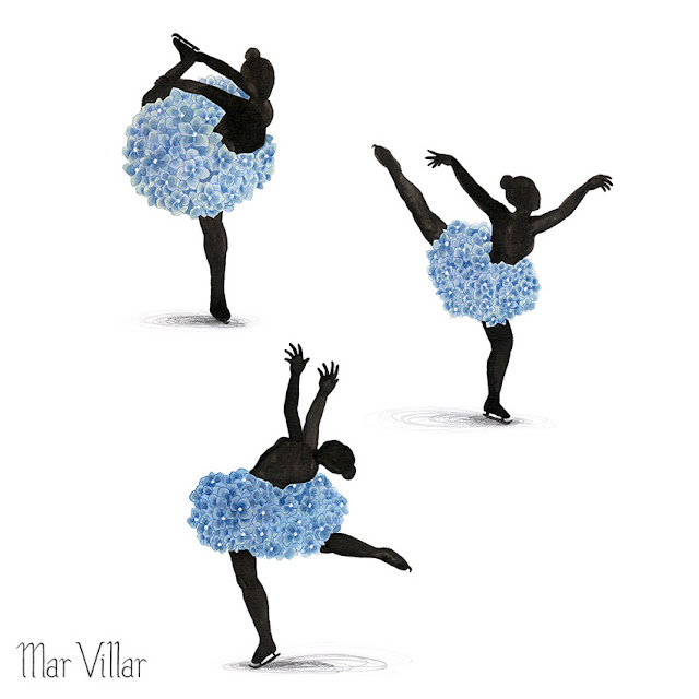 Inktober, Inktober 2016, plantas, hortensias, ilustración a tinta, silueta humana, bailarinas, tinta, aguada de tinta, quink, tinta parker