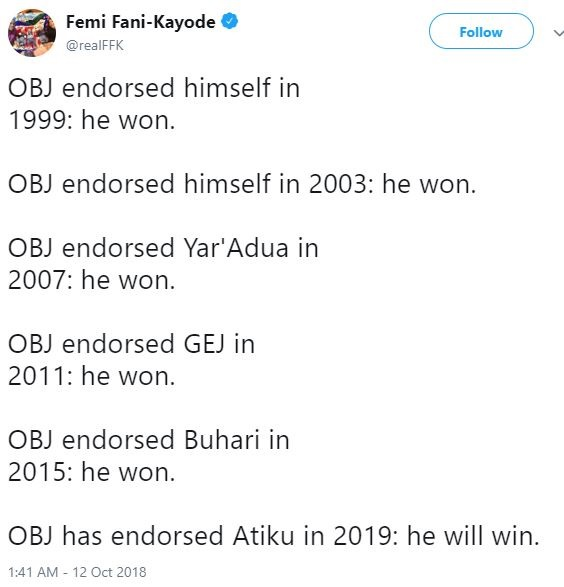 FFK List Names Of Presidential Candidates Who Won Elections After Obasanjo's Endorsement