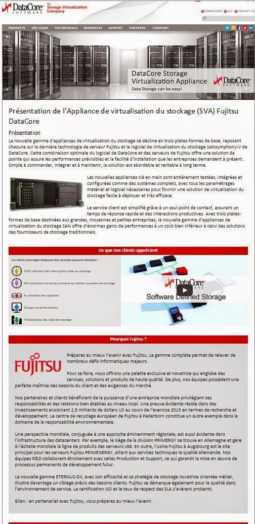 Présentation de l'Appliance de virtualisation du stockage SVA Fujitsu DataCore