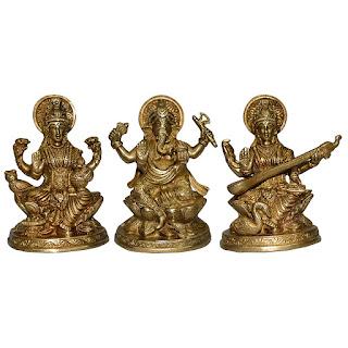 DronaCraft Goddess Laxmi, Goddess Saraswati, Lord Ganesha Brass Statues Set