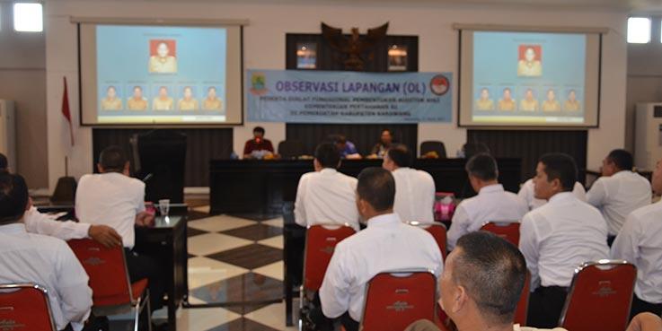 Observasi Lapangan (OL) peserta Diklat Fungsional Pembentukan Auditor Ahli Kementerian Pertahanan RI di Aula Gedung Singaperbangsa.
