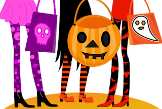 Clipart image of the legs of trick-or-treaters