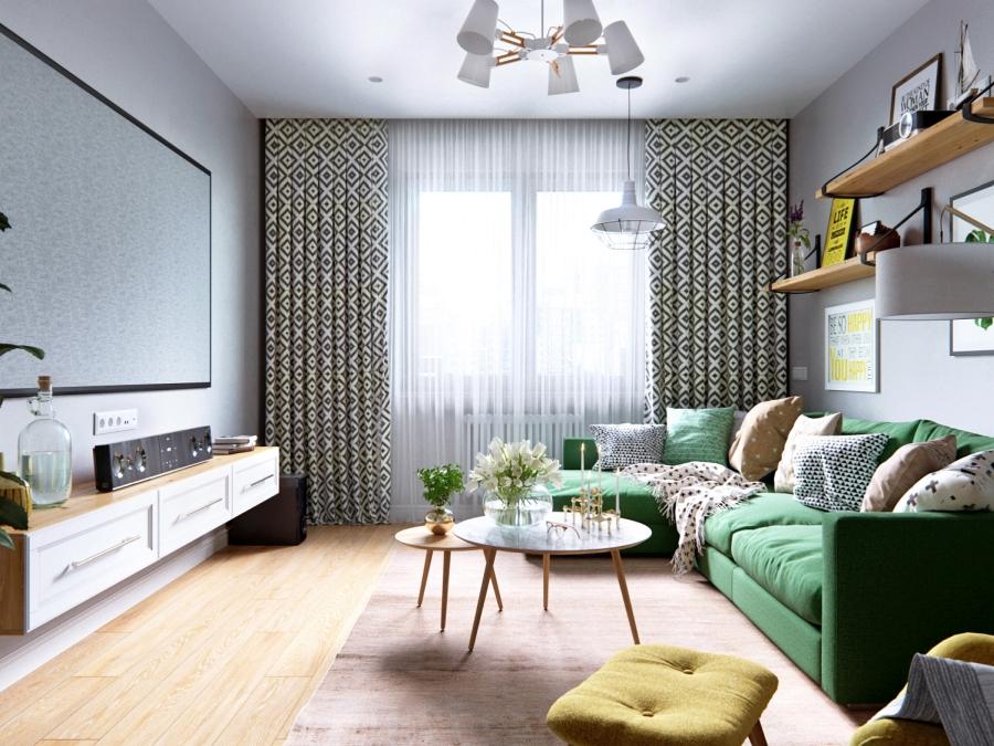 Stylowa aranżacja mieszkania z kolorowymi detalami - wystrój wnętrz, wnętrza, urządzanie mieszkania, dom, home decor, dekoracje, aranżacja wnętrz, minty inspirations, styl skandynawski, nowoczesne wnętrze, naturalne drewno, kolorowe akcenty, geometryczne wzory, stylowe wnętrze, salon, pokój dzienny, living room, zielona sofa, kanapa, fotel z podnóżkiem, szary salon